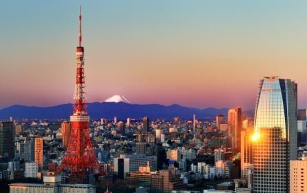 Elevated view of central Tokyo at sunrise including snow-capped Mount Fuji.